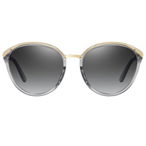 light grey tinted lens and top gold frames, round shape with slight angular edge