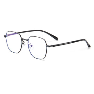 black frame eyeglasses with black temple arms