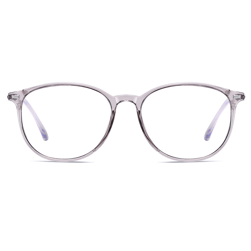 silver eyeglasses frames, shape in square, soft round angular edge