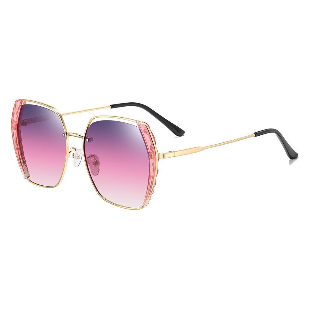 Trendy Women Square Sunglasses with Purple Gradient Lenses