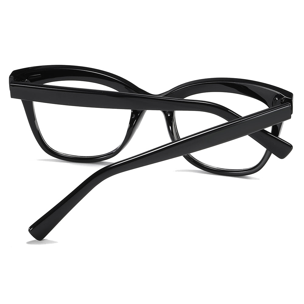 thick black temple arms trendy eyeglasses