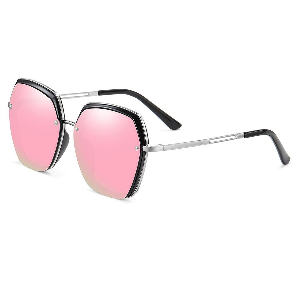 hexagon shaped sunglasses with silver temple arms
