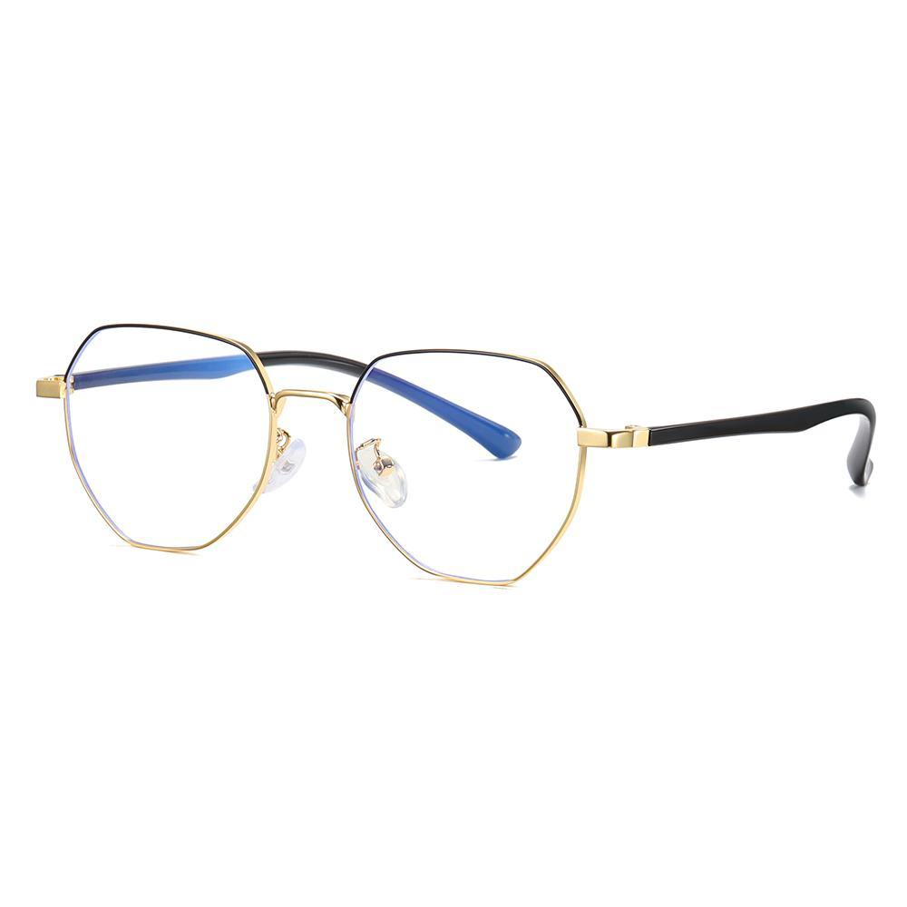 eyeglasses, black gold frame in geometric octagon shape