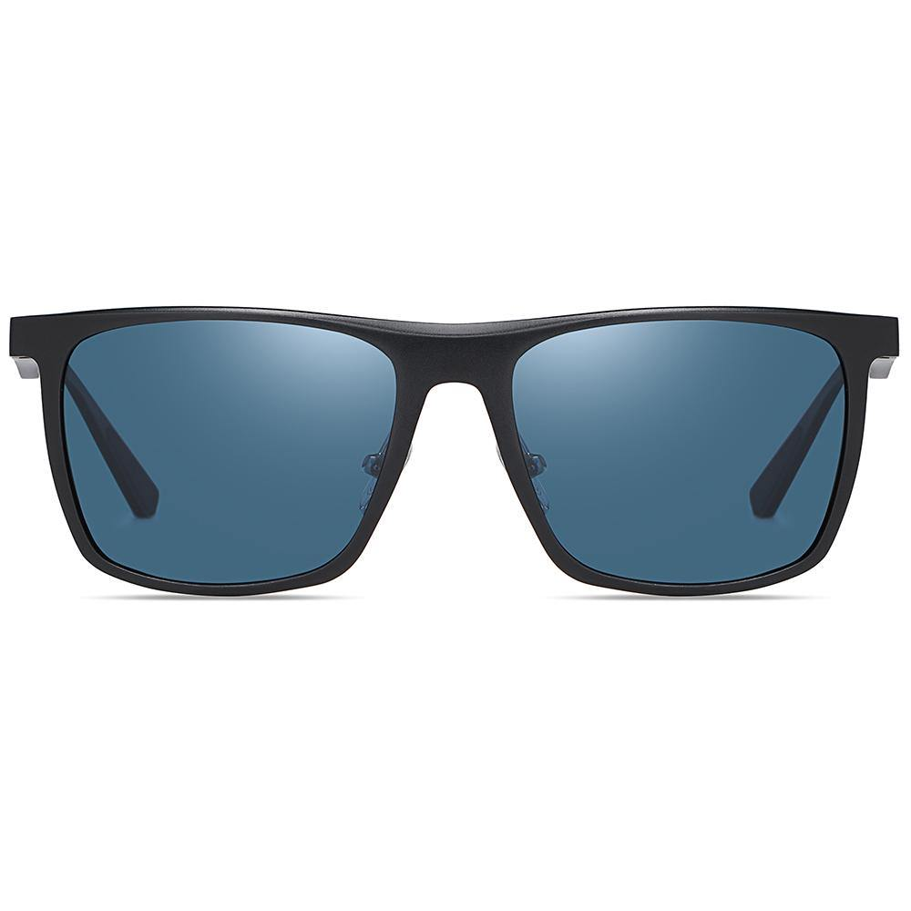 wayfarer style rectangle sunglasses with blue tinted lenses black frames