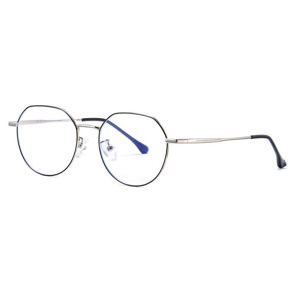 Wire frame eyeglasses in black and silver temple arms