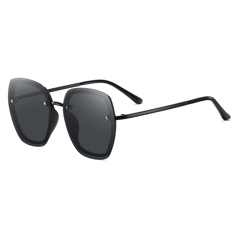 Black square sunglasses with black nose bridges
