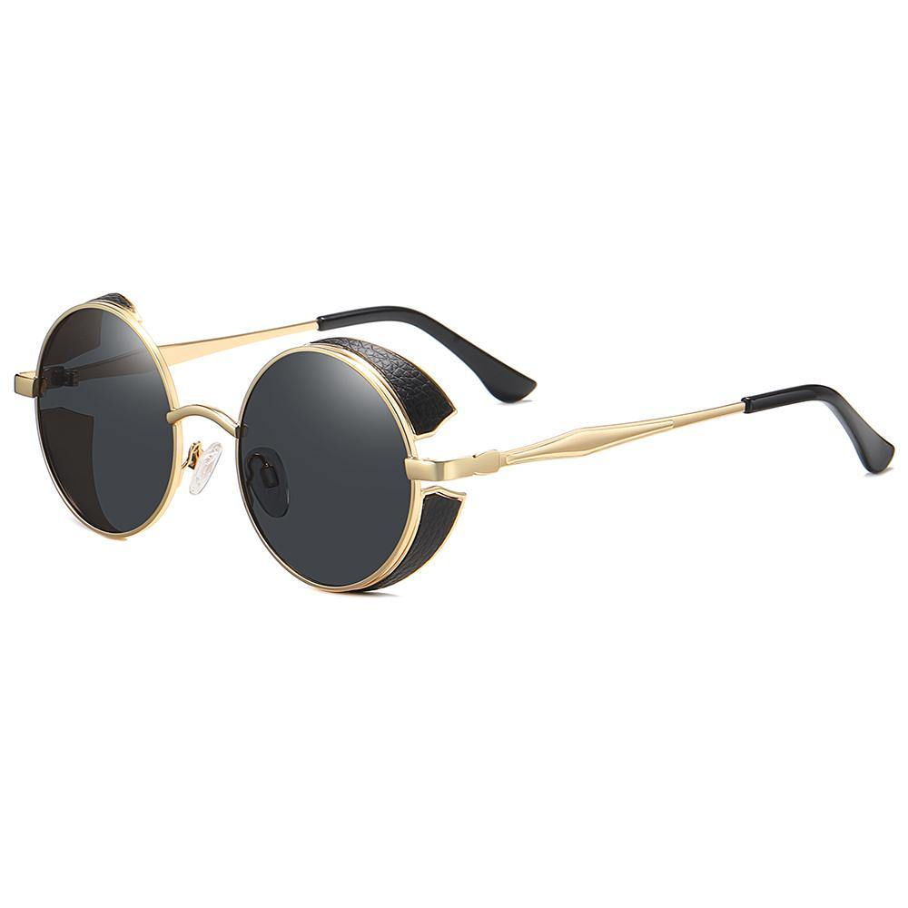 side view of vintage lennon round sunglasses with black lens and gold temple arms