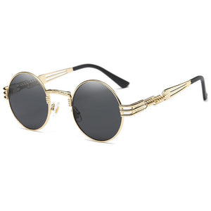 black lennon round sunglasses with gold frames in black lens, screw design temples