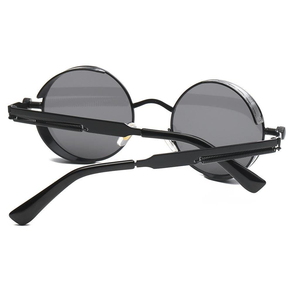 back of steampund round sunglasses, thick screw spring temple legs, full black frame, with rubber side shields