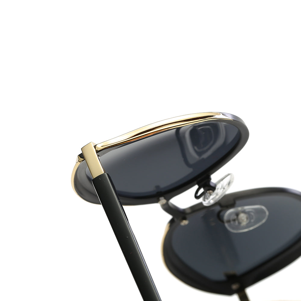 black temple legs with gold frames, adjustable nose pads