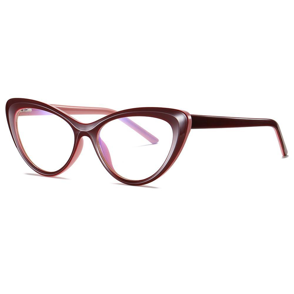 wine red cat eye glasses