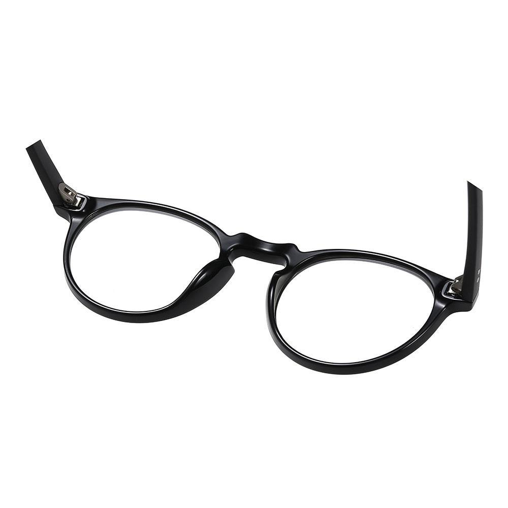 Black round eyeglasses With one piece nose pads