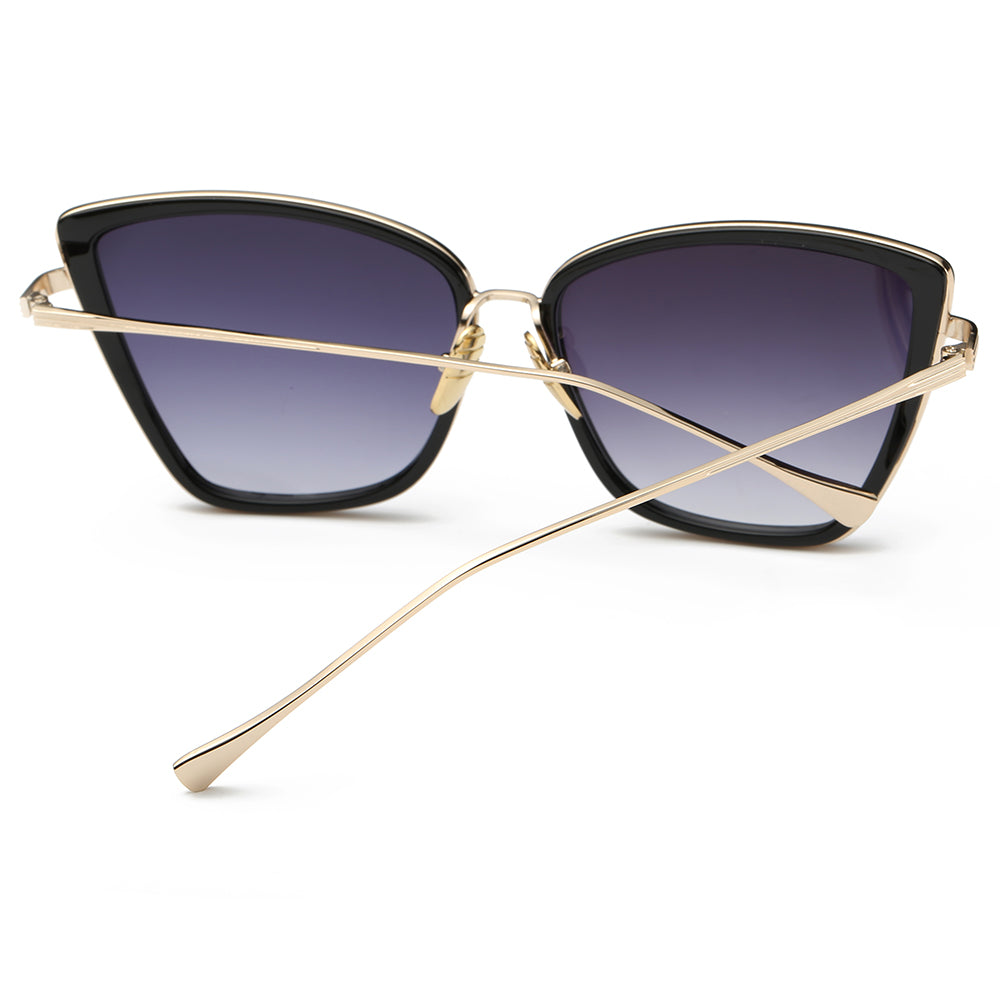 thin gold temple arms of square sunglasses