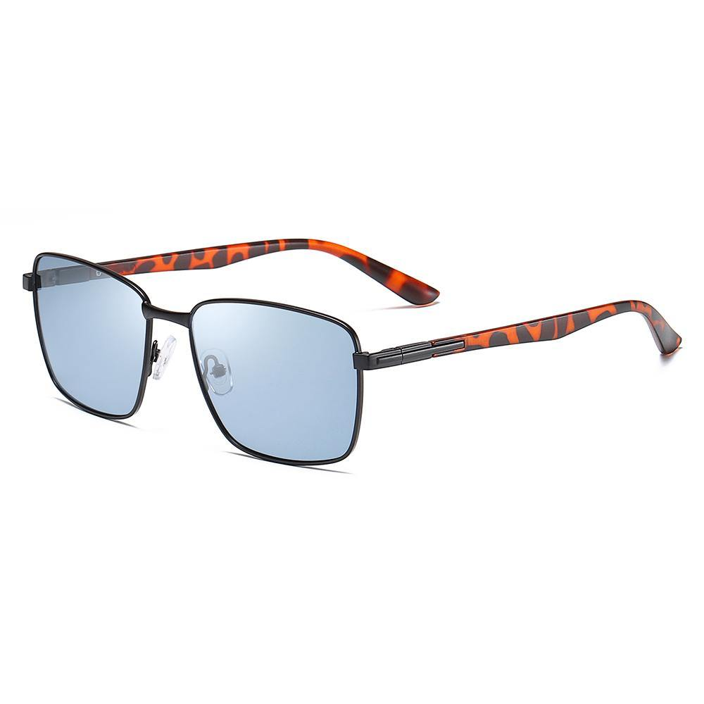blue rectangular sunglasses has tortoise temple arms