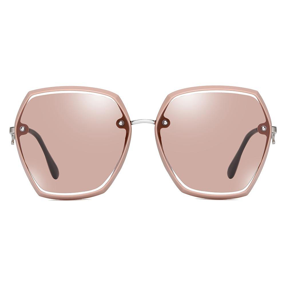 women shades in light pink lenses and frames