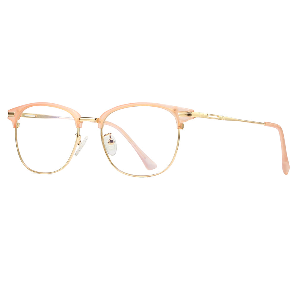 women eyeglasses with pink browline frames, clubmaster style