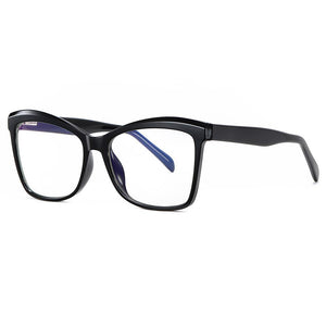 side view of black square eyeglasses for women