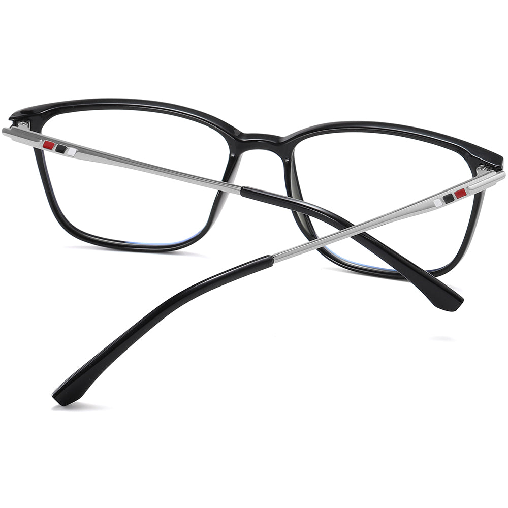 Rectangle eyeglasses with grey temple arms
