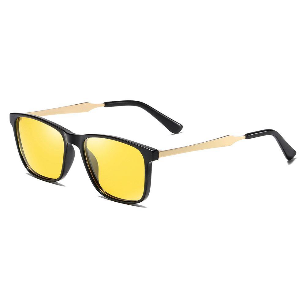 Yellow rectangular sunglasses With gold temple arms and black ending tips