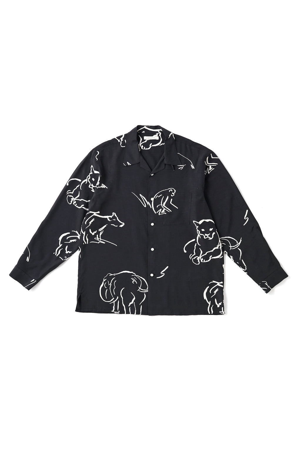 ORIGINAL PRINTED OPEN COLLAR SHIRTS (-DRAWING- long sleeve) - 201OJ-SH06