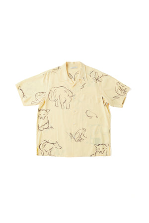 ORIGINAL PRINTED OPEN COLLAR SHIRTS (-DRAWING- short sleeve) - 201OJ-SH07