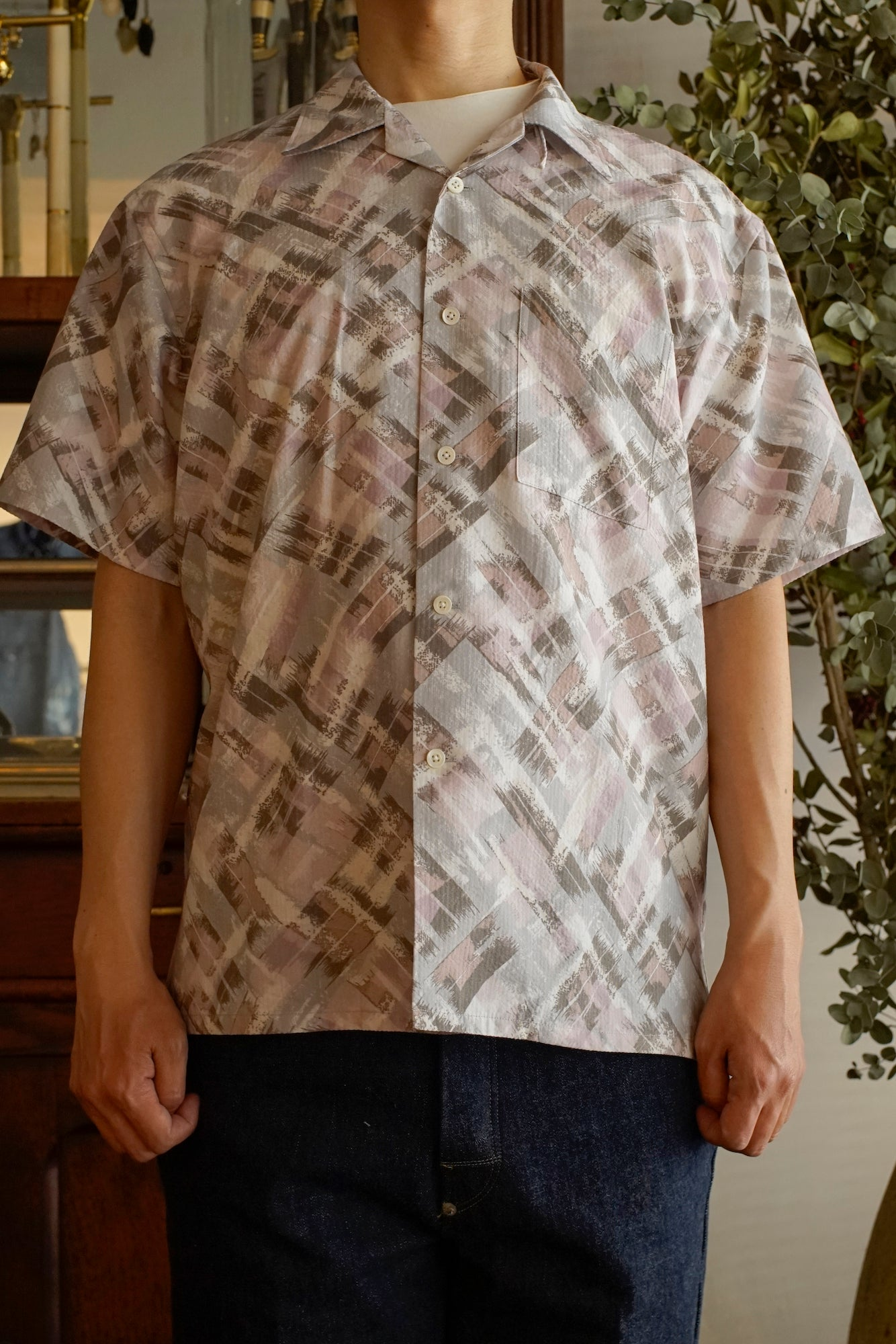 ORIGINAL PRINTED OPEN COLLAR SHIRTS (-ATOMIC- short sleeve) - 201OJ-SH05