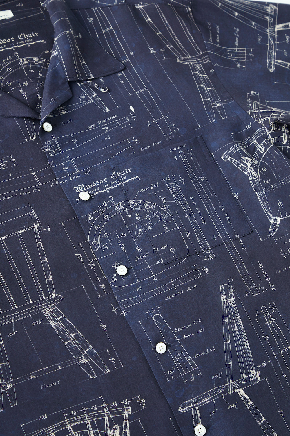ORIGINAL PRINTED OPEN COLLAR SHIRTS (BLUE PRINT) Short-sleeve - 211OJ-SH08