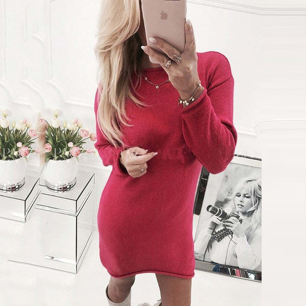 Autumn and winter women knitted sweater dress bottoming shirt sexy casual long-sleeved O-neck loose Turtleneck Dresses New
