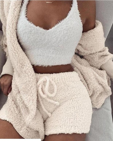 2019 Women Two Piece Set Outfits Autumn Winter Fluffy Hooded Open Front Teddy Coat & Short Sets