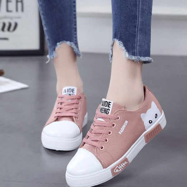 2020 Women Flat Cartoon Canvas Shoes 2018 New Summer White Lace Up Student Board Shoes Ladies Casual Shoes Female Sneakers