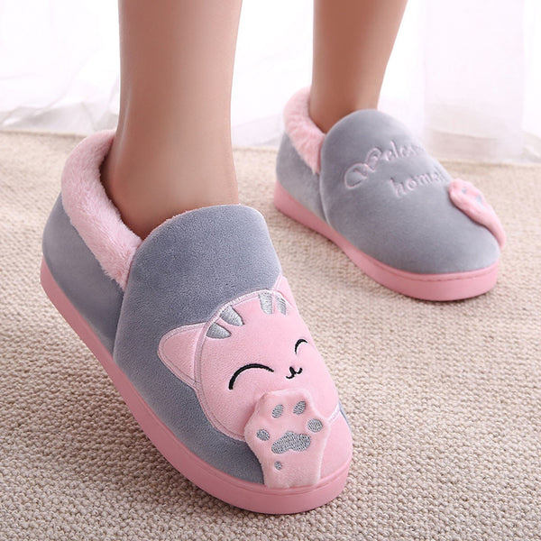 Women Winter Home Slippers Couple Shoes Female Plush Cartoon Cat Non-slip Warm Indoors Bedroom Floor Shoes Comfort Indoor Flats