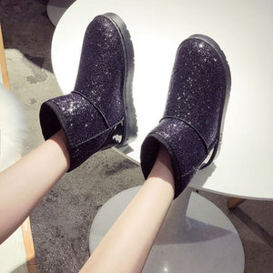 Snow Boots Winter Flat Shoes Sequined Cloth Women Ankle Boot Warm Plush Inside Ankle Boot Round Toe Antiskid  Black Pink Silver