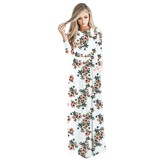 Echoine Casual Bohemian Dress Women Floral Print O-Neck Long Sleeve Loose Pocket Graceful Floor Length Female Holiday Outerwear