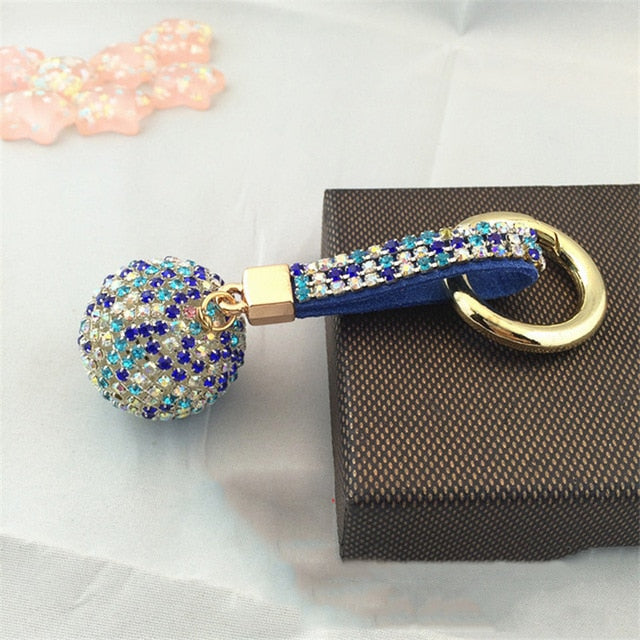 Fancy&Fantasy New Strass Rhinestone High Quality Leather Strap Crystal Ball Car Keychain Charm Pendant Key Ring For Women