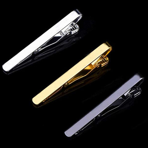 1 pcs Fashion Style Tie Clip For Men Metal Silver Gold Tone Simple Bar Clasp Practical Necktie Clasp