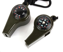 Load image into Gallery viewer, 3 In 1 Army Green Compass/ Whistle/Thermometer