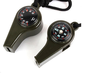 3 In 1 Army Green Compass/ Whistle/Thermometer