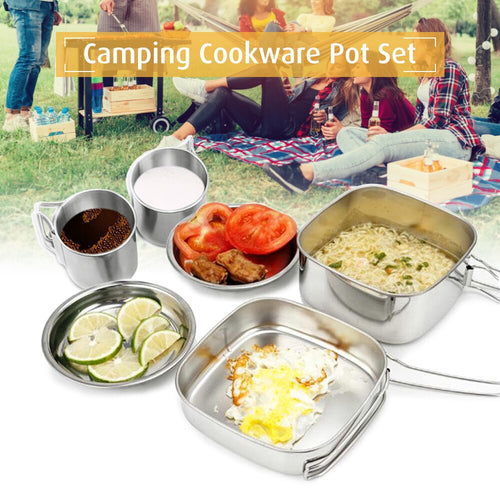 1-2 Person Stainless Steel Cook Pot Set With Water Cups And Plates Included