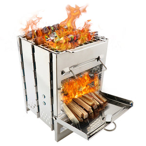 Folding Stainless Steel Backpacking Wood Burning Stove