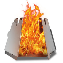 Load image into Gallery viewer, Folding Stainless Steel Backpacking Wood Burning Stove