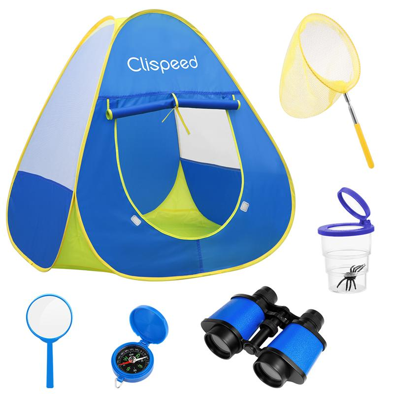 Children's Camping Set Complete With Tent, Compass, Binoculars, And Field Science Tools