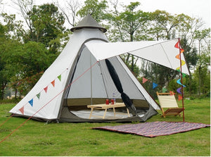 Family-Sized Tepee Style Tent With Additional Sunshade Opening
