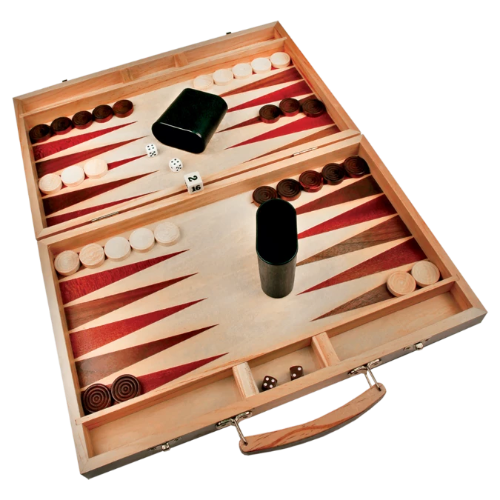 Wood Backgammon Set with 30 Playing Pieces, a Doubling Cube, 4 Dice, 2 Dice Cups