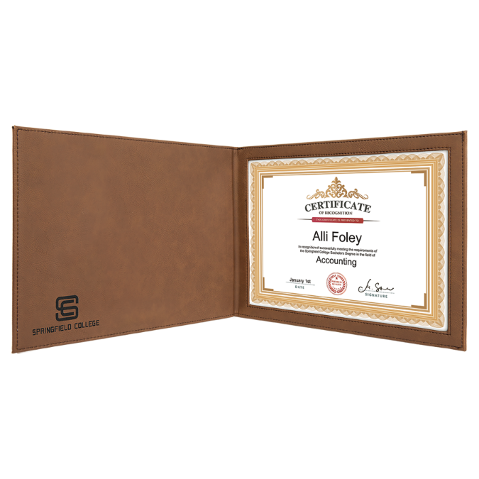 "Dark Brown Leatherette Certificate Holder for 8 1/2"" x 11"" Certificate"