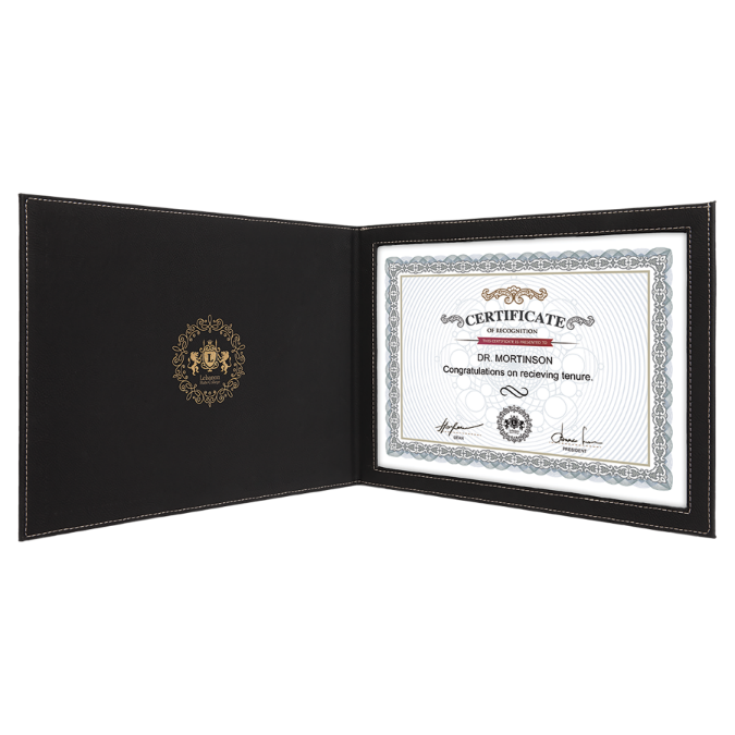 "Black & Gold Leatherette Certificate Holder for 8 1/2"" x 11"" Certificate"