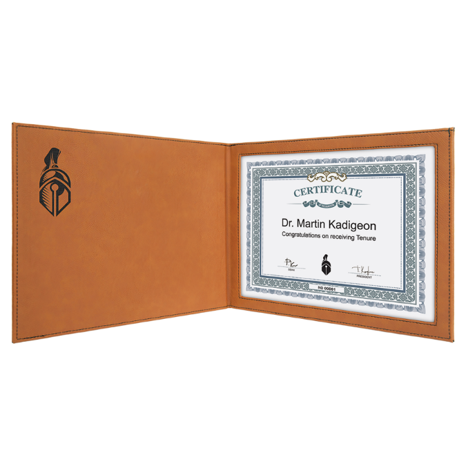 "Rawhide Leatherette Certificate Holder for 8 1/2"" x 11"" Certificate"