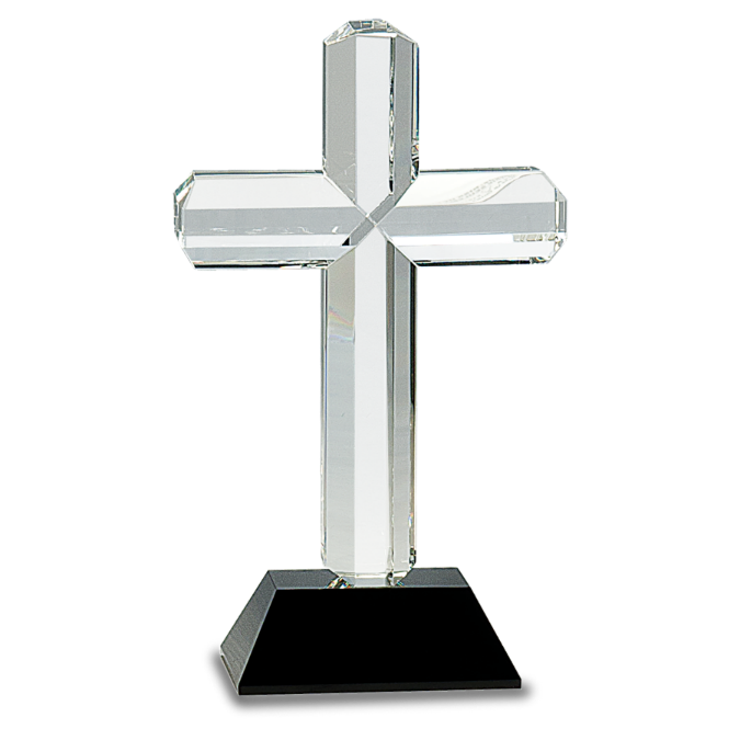 Crystal Cross with Black Base