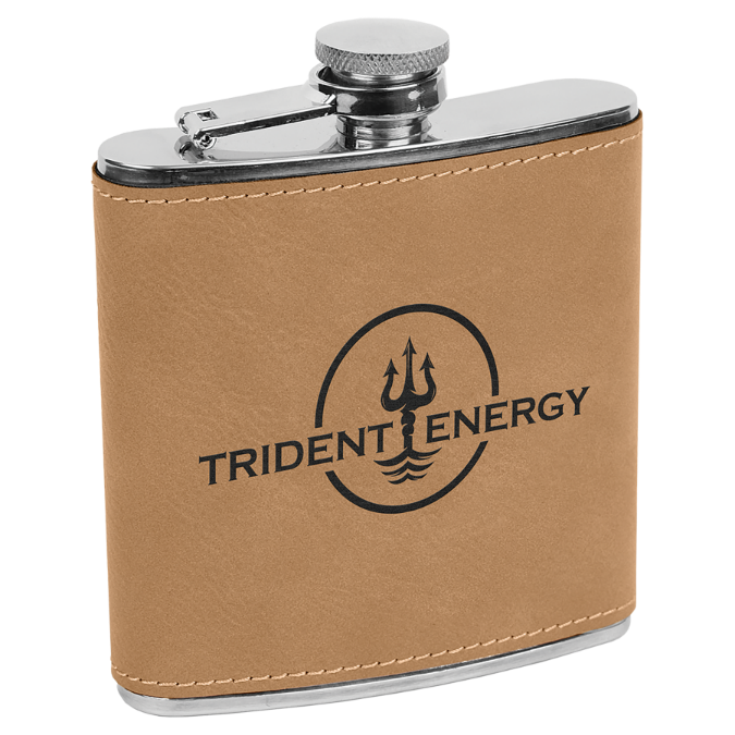 6 oz. Light Brown Leatherette Flask
