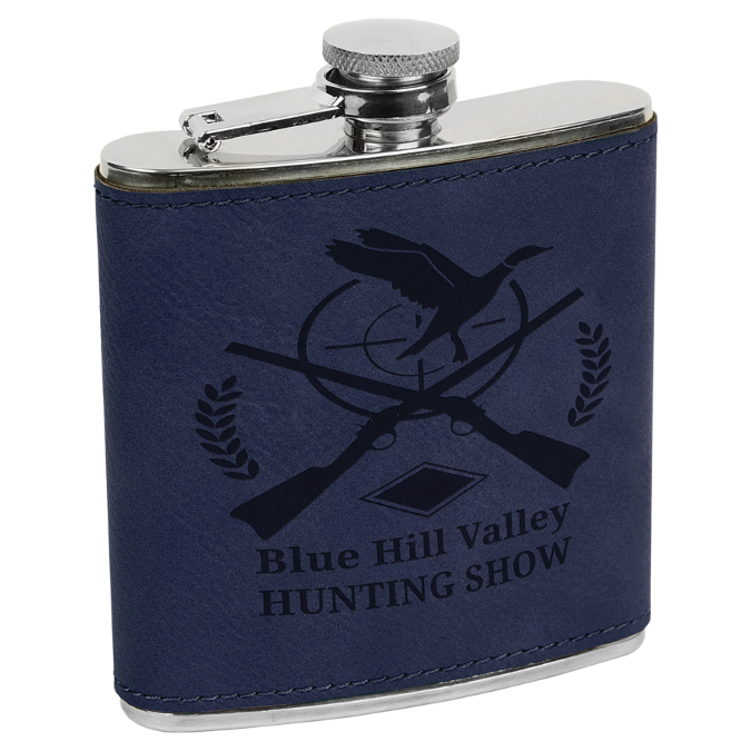 6 oz. Blue Leatherette Flask