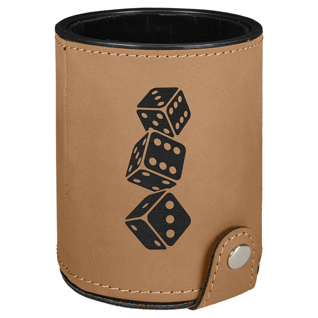 Light Brown Leatherette Dice Cup with 5 Dice
